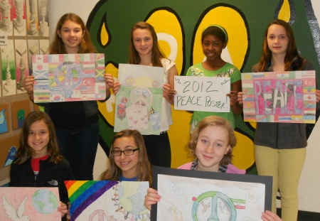 Colchester Middle School students display their award-winning interpretations of peace