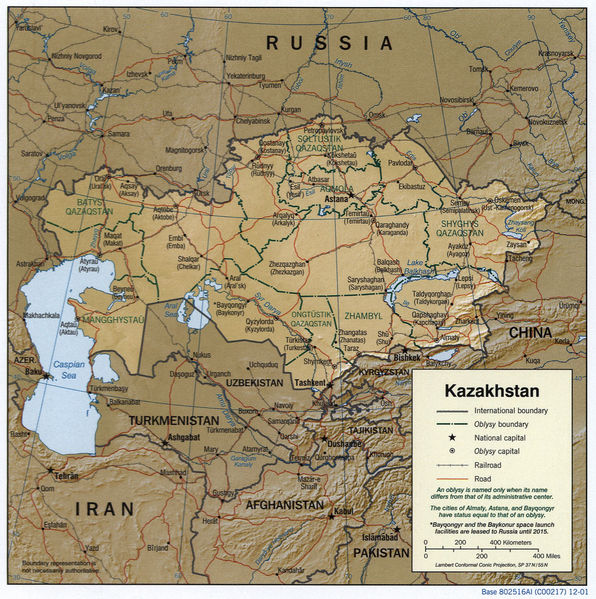 Map of Kazakhstan courtesy of Wikimedia Commons
