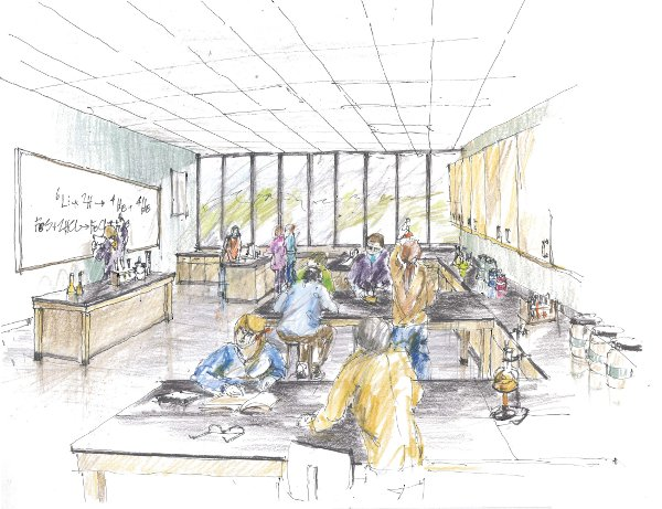 Sketch of proposed revitalized classrooms and laboratories