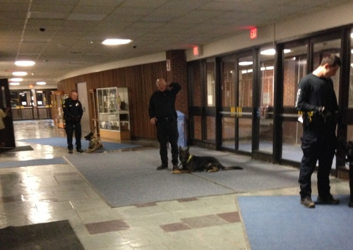 K-9 units in the CHS lobby