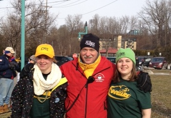 CMS's Courtney Phelps, Colchester Police Department's Corporal Fontaine, and CMS Principal Dawn at the Penguin Plunge