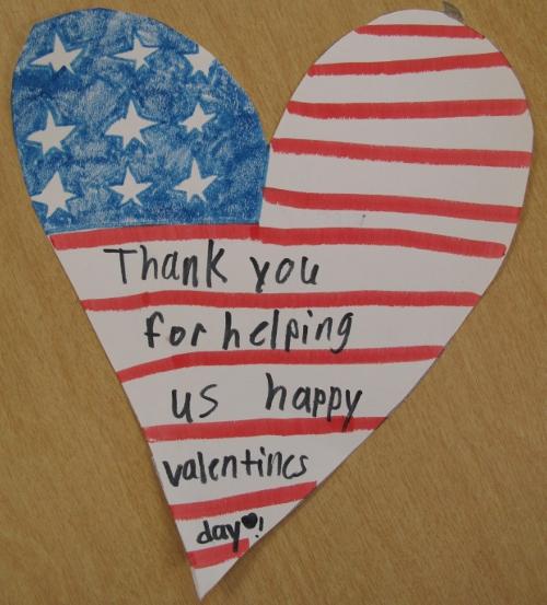 A student's handmade valentine
