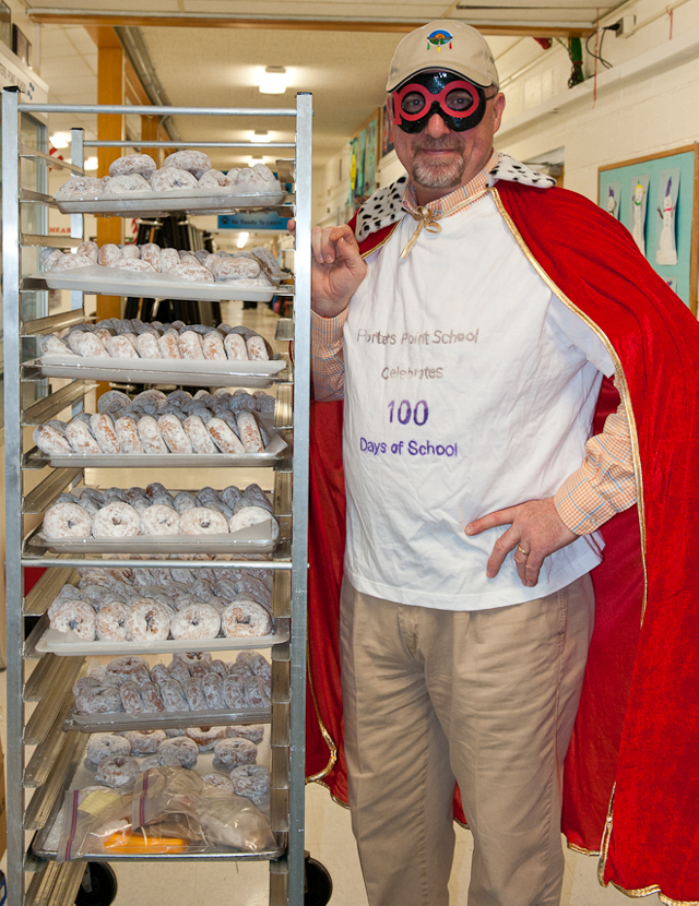 "CSD Superintendent Larry Waters as ""Zero the Hero"" helps PPS students celebrate the 100th day of school"