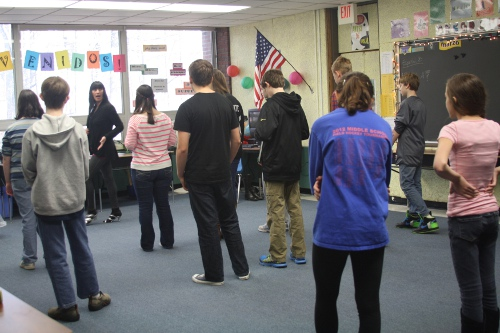 CMS students receive Salsa instruction as part of their study of Spanish culture