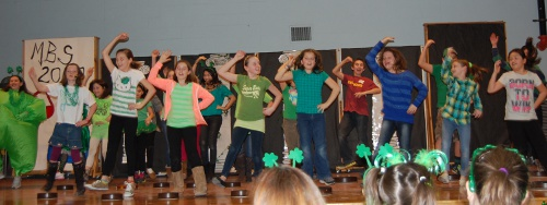 Fifth graders demonstrating Irish dance