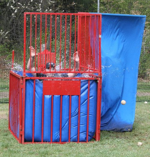UMS Principal Antonicci gets dunked by a student