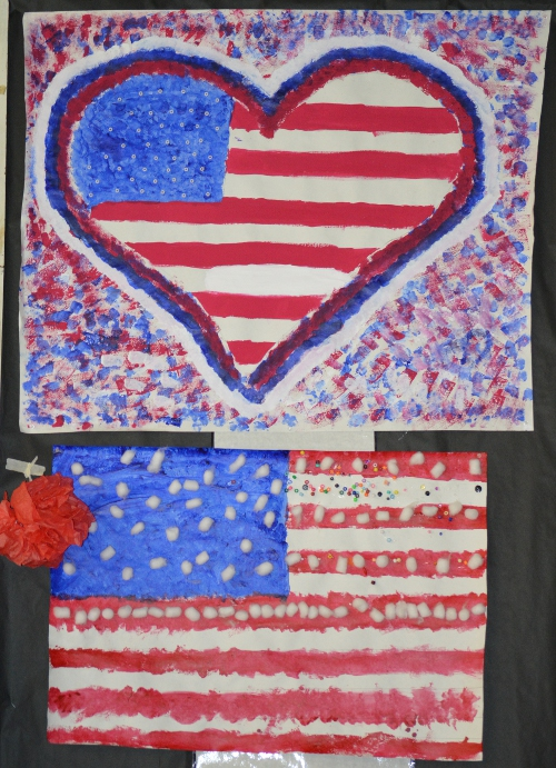 Artwork created by MBS students for Memorial Day