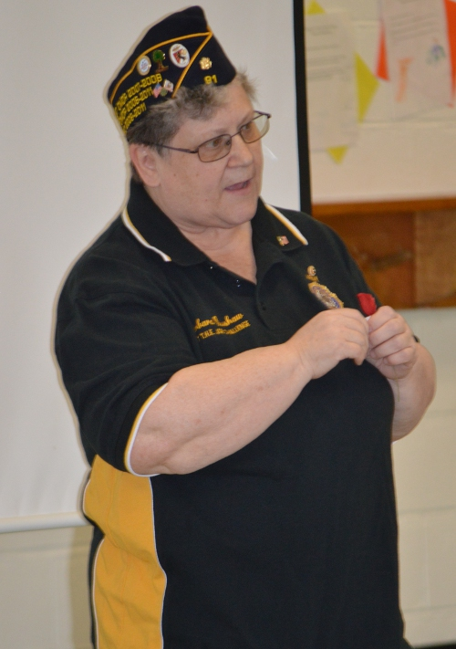 American Legion Post 91's Barbara Bushaw addresses the students