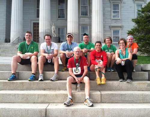 Colchester High School's faculty and staff Zach Kramer, Morgan Samler, Sean MacArdle, Steve Fiske, Beth Albright, Maureen Gillard, Chris Lang, Andrea Boehmcke, and Danielle Grise at the Vermont Corporate Cup race in Montpelier on May 16.