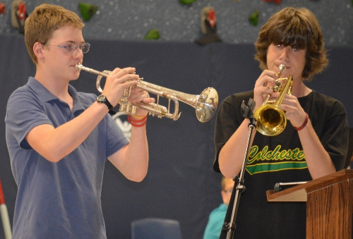 """CMS students playing """"Taps"""""""