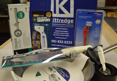 As part of the grant-funded program, participants received a gift of a professional sauce pan, measuring spoons, a chef knife, measuring cups, a meat thermometer, and a knife sharpener.