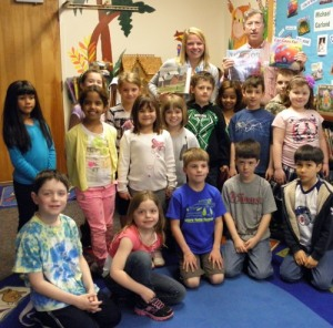 Author Michael Garland with Meg Terrien's first-grade class at PPS.