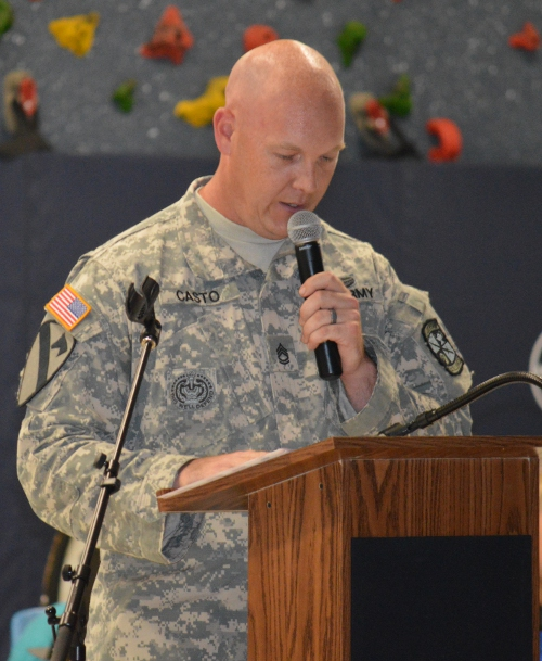 Sargeant Casto addresses Malletts Bay School at the Memorial Day event