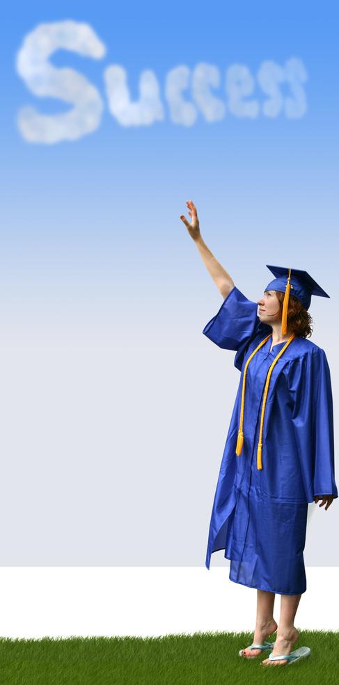 a graduate reaching for success in the clouds