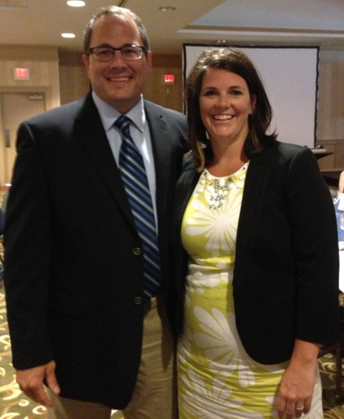 CHS Principal Amy Minor and her husband at the July 30 award ceremony in Killington