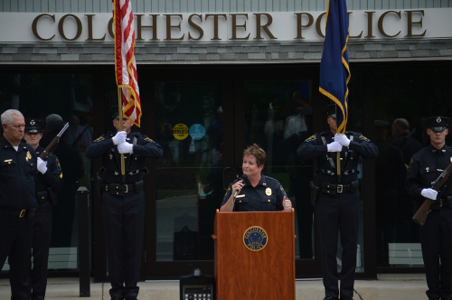"""This is the proudest day of my career. I am honored to wear your uniform and to serve alongside you,"" Chief Morrison said in her remarks at her swearing-in ceremony."
