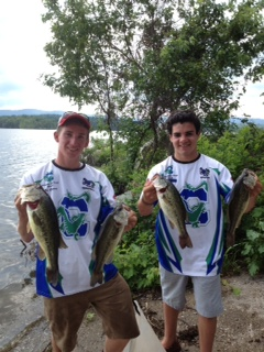 Ben Seaman and Tate Hamblett at the Bass Federation State High School Fishing Championship on June 30
