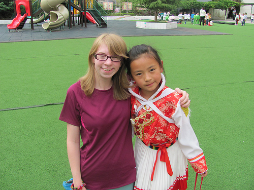 CHS junior Julia Bessy and a Chinese student