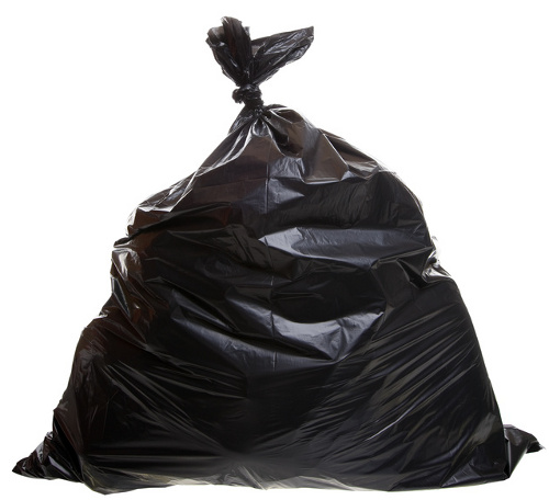 black trash bag isolated on a white background