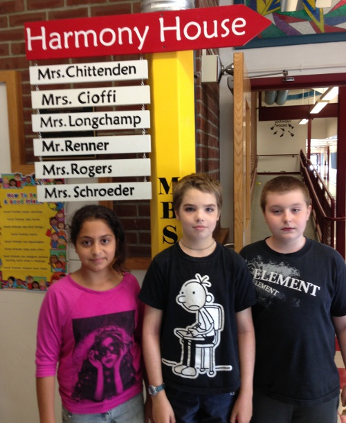 "Fifth graders Basma Yahyah, Quinn Holly, and Bobby Genest are organizing the ""Pint-Sized Heroes"" blood drive at MBS on September 11"