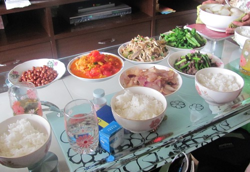 Traditional food served by Julia's host family