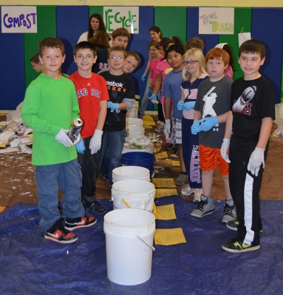"Fourth graders in Kari Carney's class at the CHS ""Big Trash Extravaganza"" event"