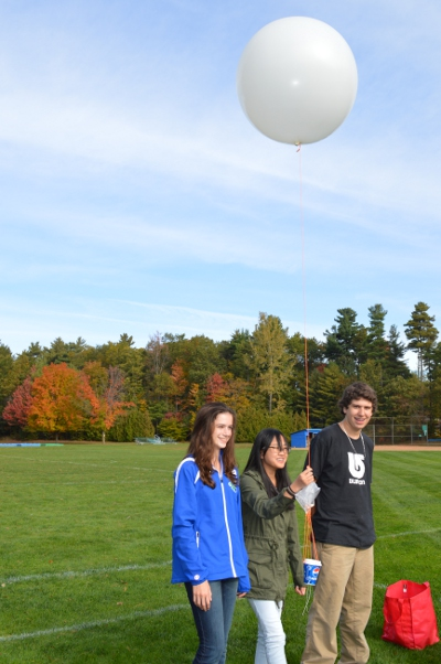 CHS science students prepare to launch a weather balloon