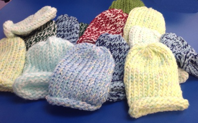 CMS students made these tiny hats for newborns at Vermont Children's Hospital