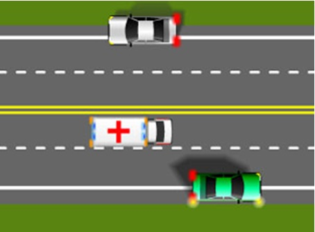When driving on a road with two lanes going in the same direction, all motorists must pull to the right as far as possible to allow the emergency vehicles to pass on the left