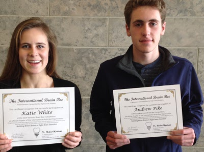 Students Katie White and Andrew Pike represented CHS at the fifth-annual Vermont Brain Bee at UVM's College of Medicine on February 8