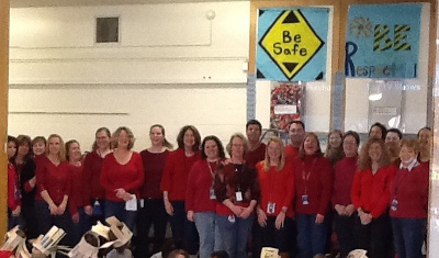 PPS employees wearing red in support of National
