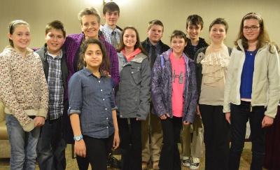 Students leaders from MBS and CMS, along with their principals, following their presentations to the Rotary Club of Colchester-Milton