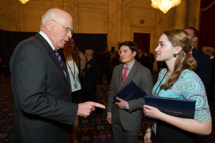 US Senator Patrick Leahy talks with CHS's Chris Prado and Colchester resident Katrina Derderian in Washington DC.