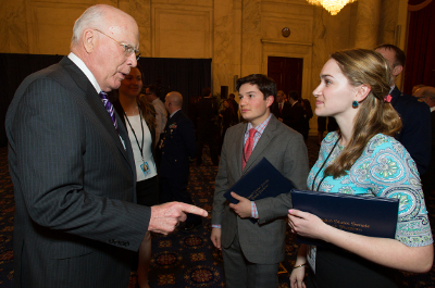 US Senator Patrick Leahy talks with CHS's Chris Prado and Colchester resident Katrina Derderian in Washington DC. Photo credit: Jakub Mosur