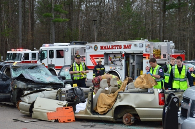Multiple emergency services agencies stages an educational mock crash events for CHS juniors and seniors on May 9.