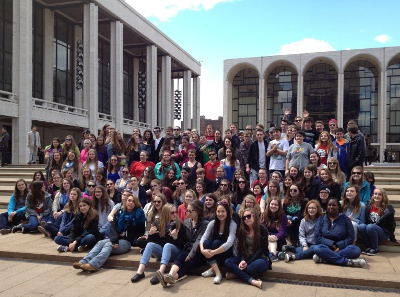 The CHS band and choral students at the Lincoln Center in New York City